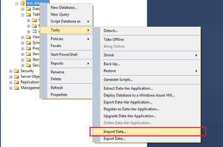 SQL Server Import and Export wizard