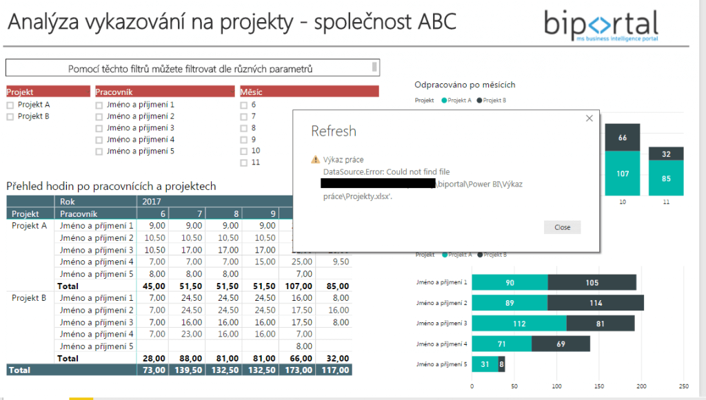 POwer BI report nefunguje