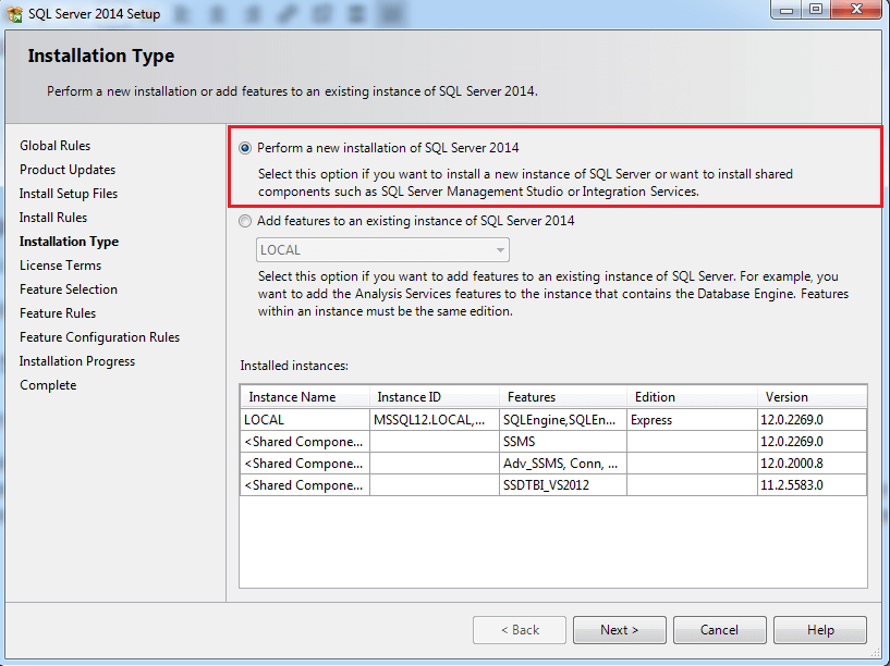 Volba instalace SQL Server express