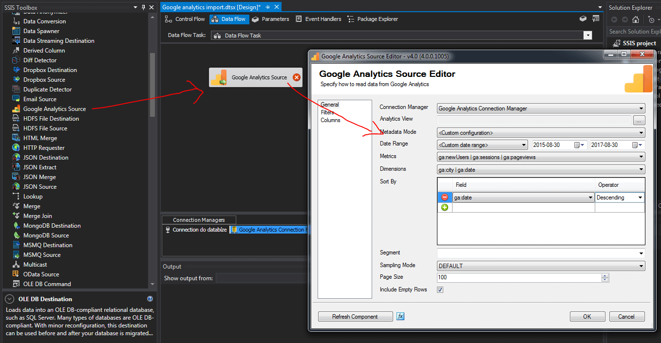 SSIS google analytics