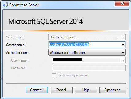 SQL Server management studio prihlaseni