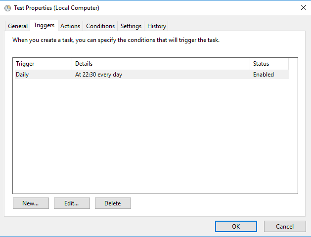 Windows task scheduler - Trigger