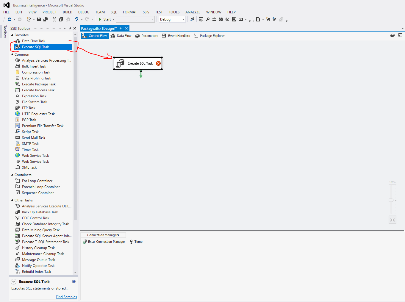 Execute SQL Task SSIS