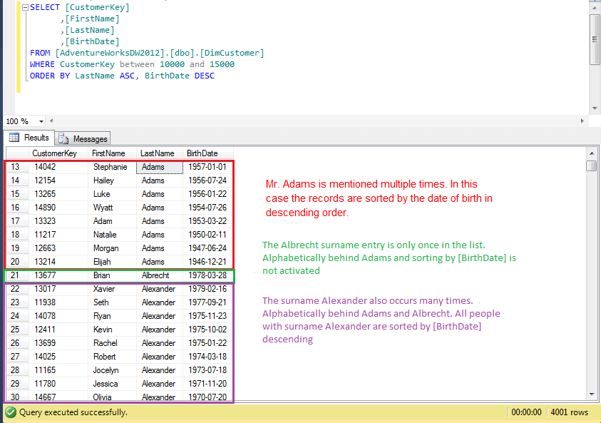 SQL-ORDER-BY example