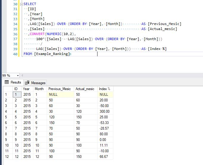 calculate index in sql using lag offset function