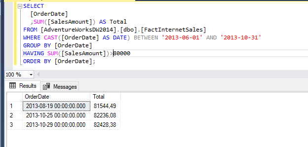 example of use where and having in SQL script