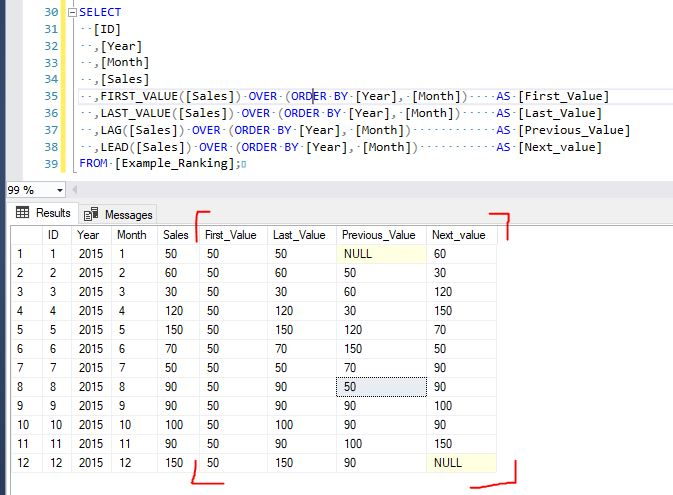 lag, lead, first_value, last_value examples sql