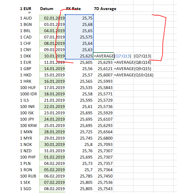 simple moving average example