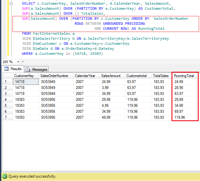 sql over example with partition by and rows between command