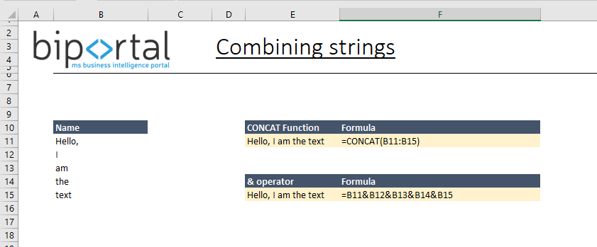 text functions - combining strings