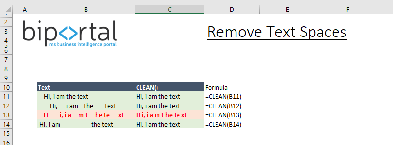 text functions - removing spaces using clean function