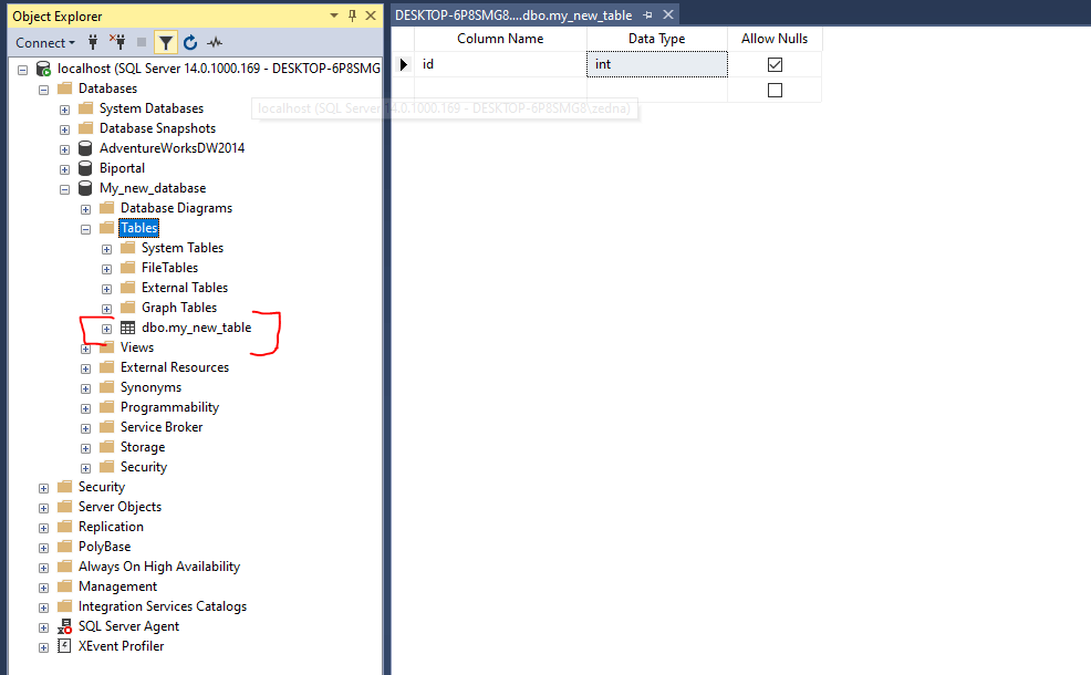 creating table in sql management studio - step 2