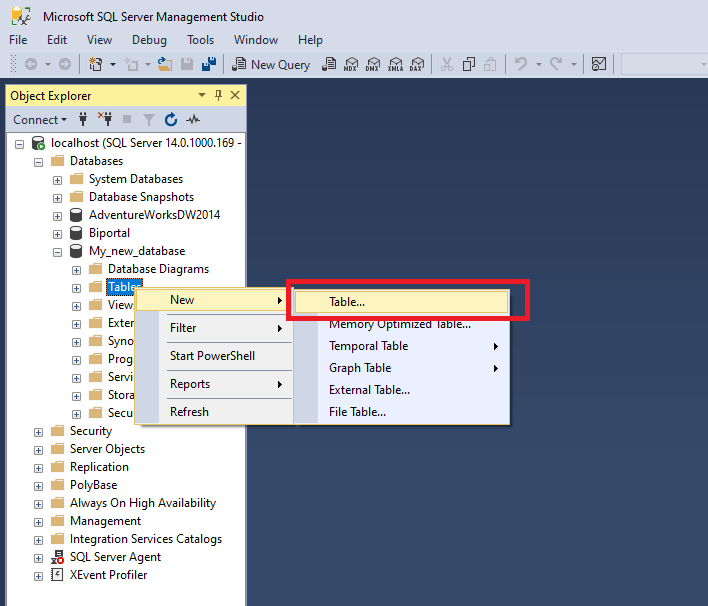 creating table in sql management studio