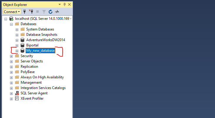 ssms - database has been successfully created