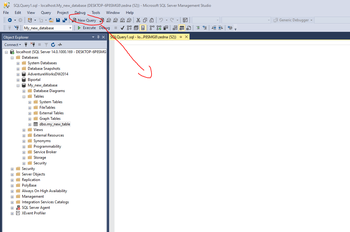 ssms query into table
